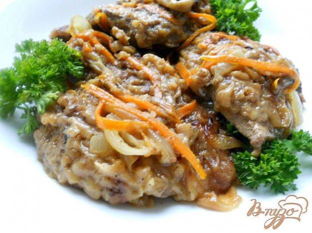 Рецепт Отбивные из говяжьей печени с овощами