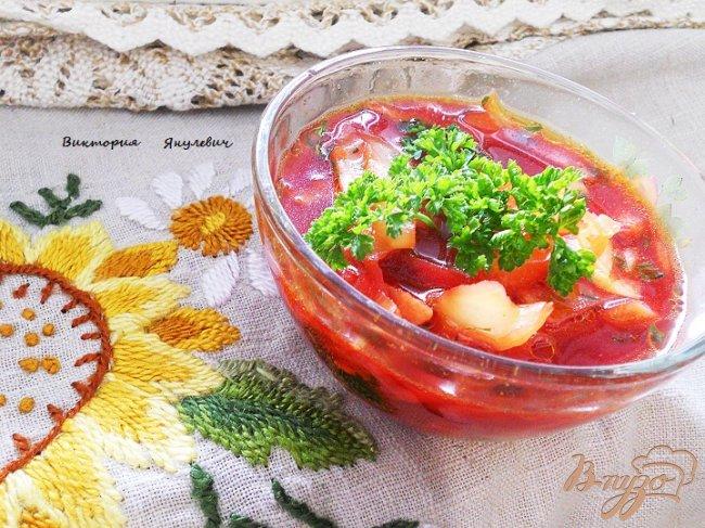 Фото приготовление рецепта: Постный и очень овощной борщ шаг №7