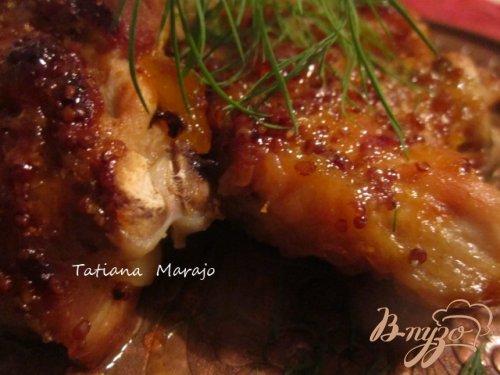 Куриные бедрышки в горчично-персиковой глазури