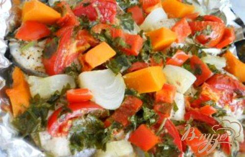 Рыба запеченная с овощами в сливках