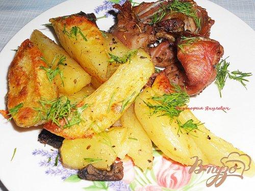 Запеченный кролик с картофелем
