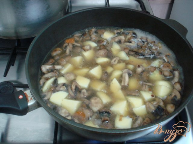 Фото приготовление рецепта: Грибной суп пюре на сковороде шаг №4