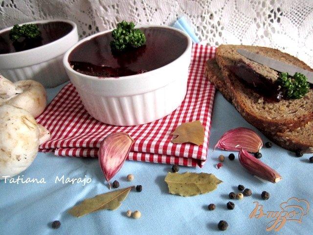 Фото приготовление рецепта: Печеночный паштет с вишневым желе шаг №9