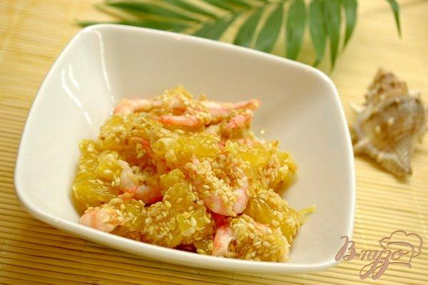 Рецепт Азиатский салат с креветками и апельсином
