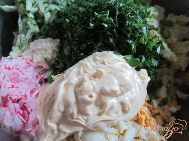 Фото приготовление рецепта: Овощная пикантная окрошка шаг №5