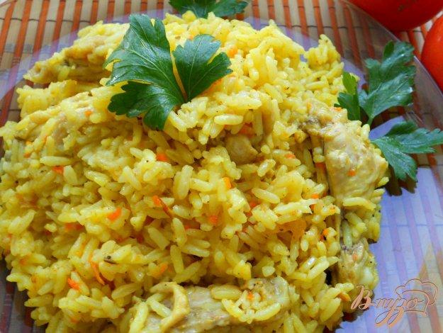 Рецепт Рассыпчатый рис с курицей и куркумой