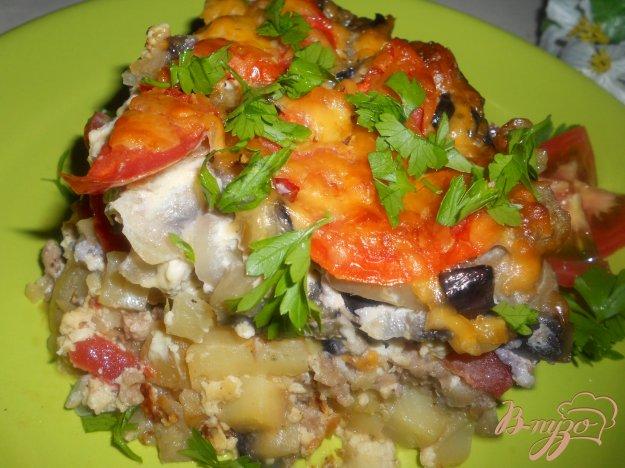 Рецепт Запеканка из баклажанов, фарша и грибов