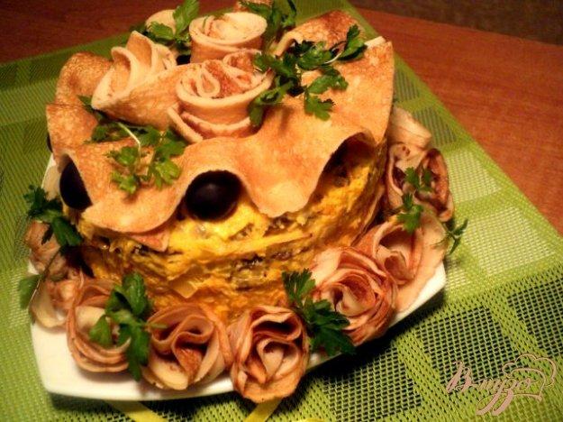 Рецепт Закусочный блинно-печеночный торт