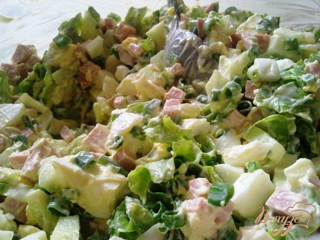 Фото приготовление рецепта: Сытный салат «Весенний» шаг №10