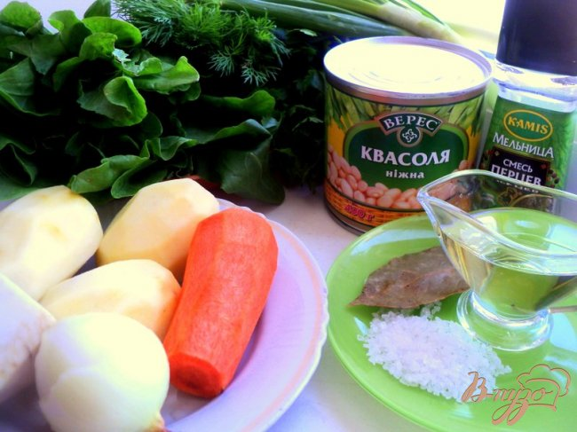Фото приготовление рецепта: Зеленый борщ с фасолью (постный) шаг №1