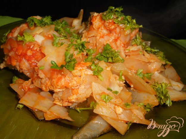 Рецепт Капуста тушеная с рисом и фаршем