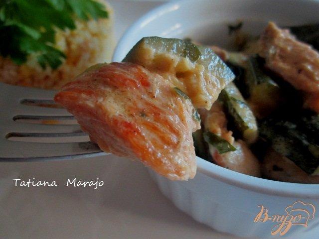 Фото приготовление рецепта: Цукини с куриным мясом тушеные в сметане шаг №6