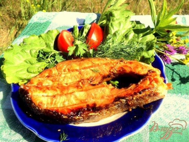 Рецепт Семга на гриле в медово-горчичной глазури