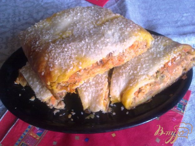 фото рецепта: Пирог с рыбой и овощами