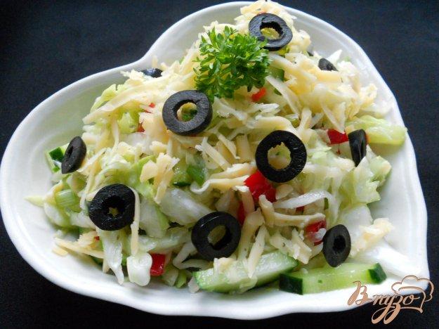 Рецепт Салат из молодой капусты с сыром и оливками