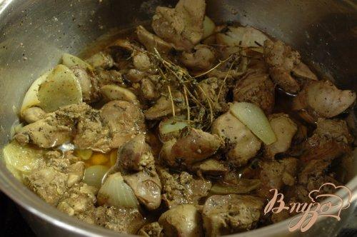 Пудинг из куриной печени с шампиньонами