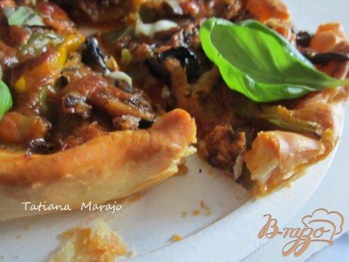 Тарт-пицца с овощами и сардинами