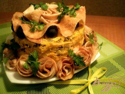 Закусочный блинно-печеночный торт