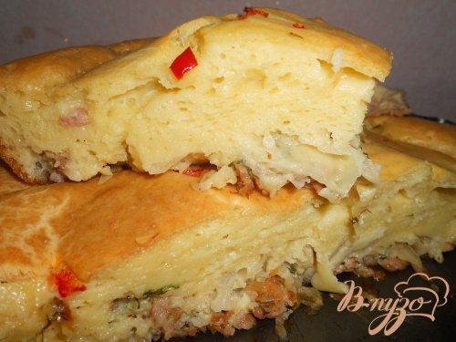 Наливной пирог с капустой и фаршем