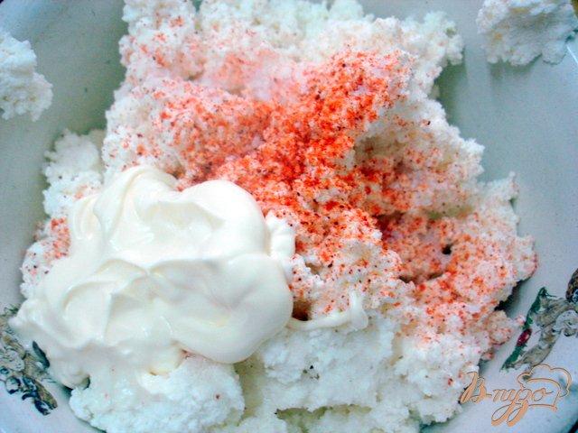 Фото приготовление рецепта: Тыквенные блинчики со шпинатом и творогом шаг №4
