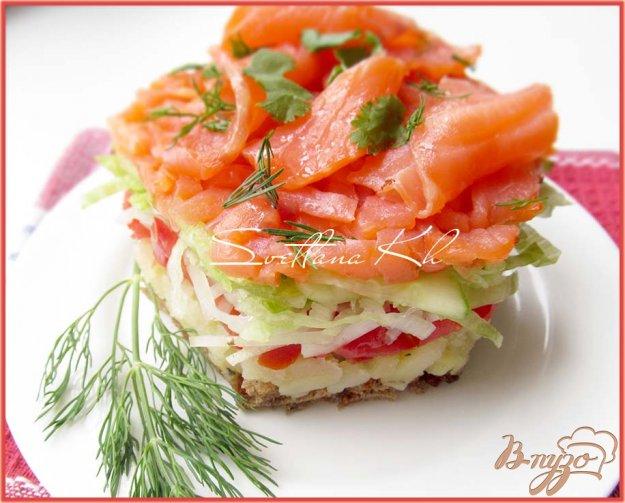 Рецепт Салат с копченым лососем