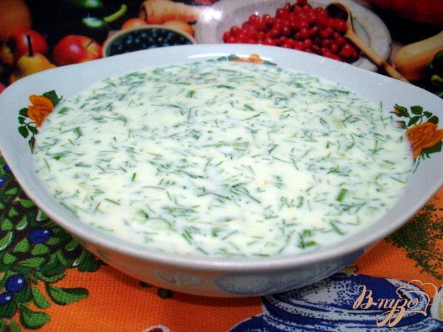 Фото приготовление рецепта: Лёгкий холодный суп на кефире шаг №5
