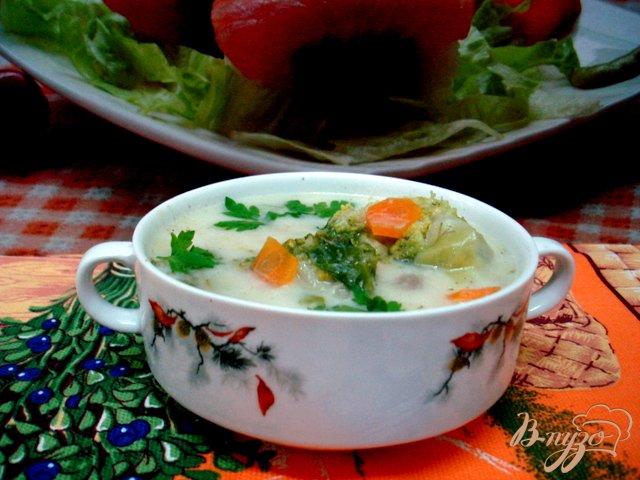 Фото приготовление рецепта: Летний лёгкий суп с сырками шаг №6