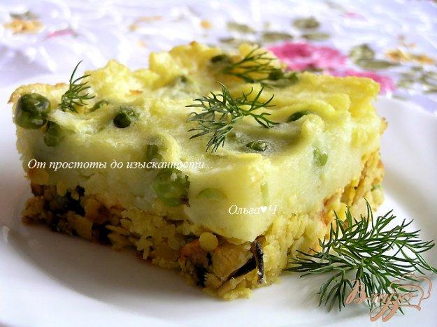 фото рецепта: Шепардский пирог с желтой чечевицей и мидиями