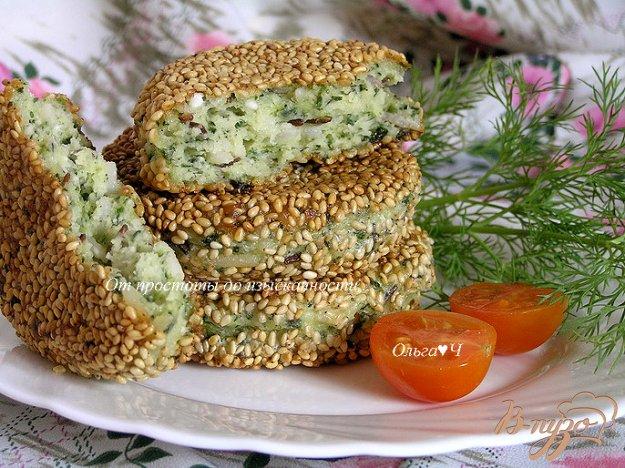 Рецепт Сырники с рисом и шпинатом в кунжутной панировке