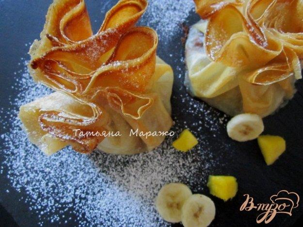 Рецепт Мешочки с фруктами и шоколадом