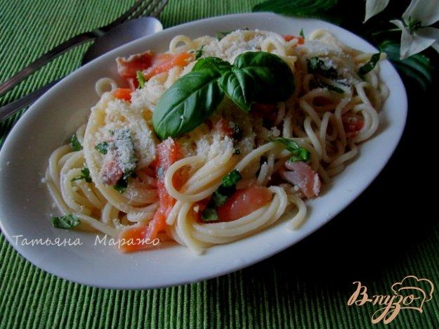 Рецепт Спагетти с семгой,базиликом и лимоном
