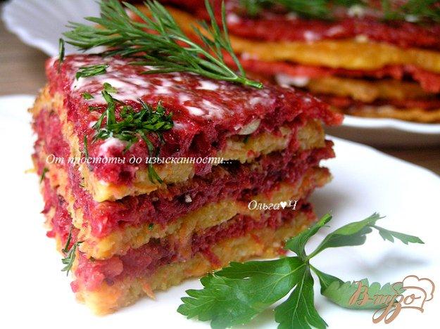 Рецепт Закусочный блинно-овощной торт