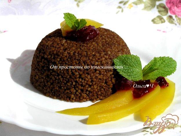 фото рецепта: Шоколадный кускус с теплым манго и мятой.
