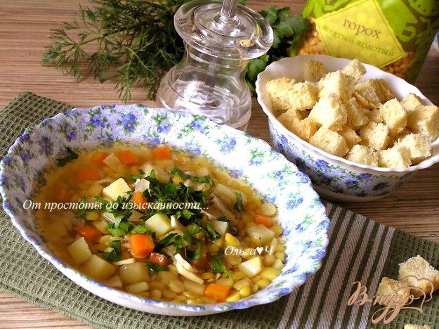 Рецепт Гороховый суп с копченым кальмаром