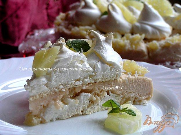 Рецепт Торт-безе с ананасами и кокосовым заварным кремом