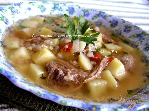 фото рецепта: Суп из свинины с зеленой гречкой и томатами