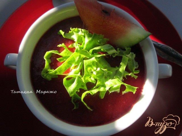 Фото приготовление рецепта: Гаспачо со свеклой и арбузом шаг №6