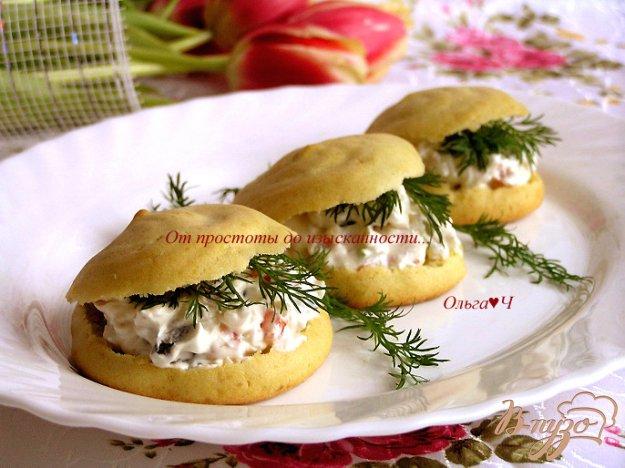 Рецепт Картофельные эклеры с творожным сыром, рисом, овощами и зеленью
