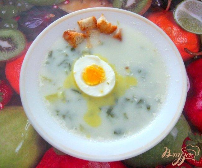 Фото приготовление рецепта: Молочный суп со щавелем шаг №6