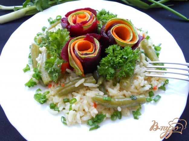 Рецепт Овощные «розы» на подушке из риса и фасоли