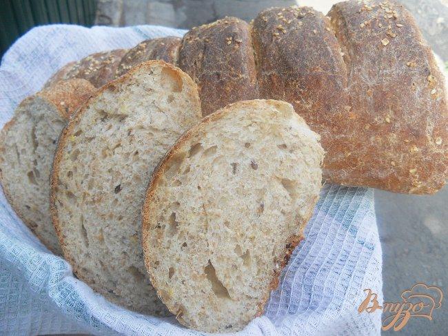 Фото приготовление рецепта: Цельнозерновой хлеб с отрубями на хлебной закваске шаг №6
