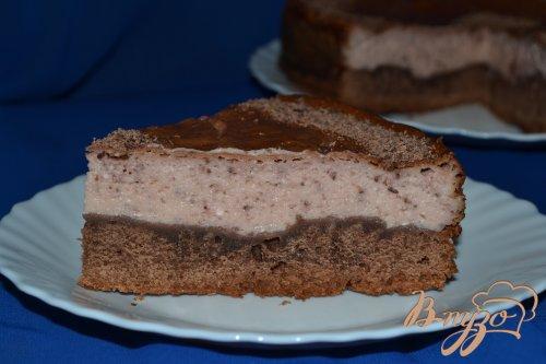 Шоколадный пирог с творожно-клубничным суфле
