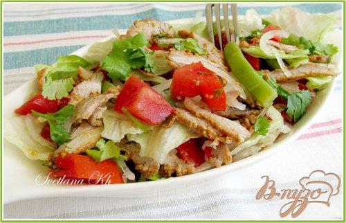 Салат с мясом и стручковой фасолью
