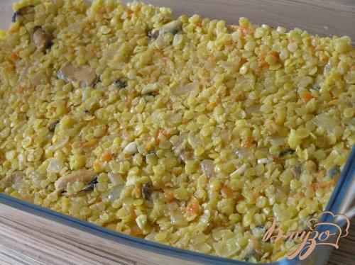 Шепардский пирог с желтой чечевицей и мидиями