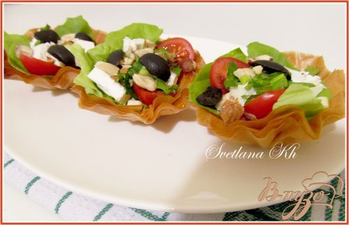 Салат в корзинках из теста юфка ( фило)