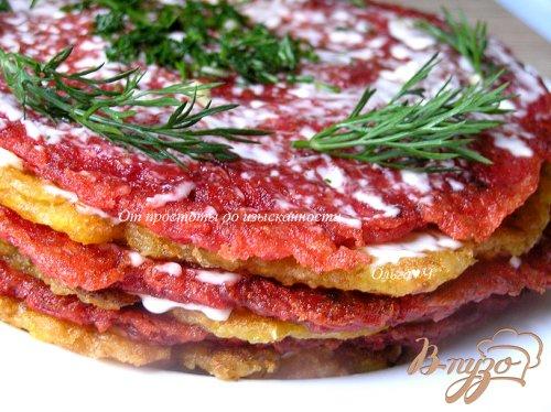 Закусочный блинно-овощной торт