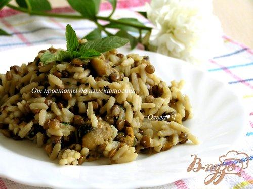 Рис с чечевицей, мидиями, цуккини и мятой