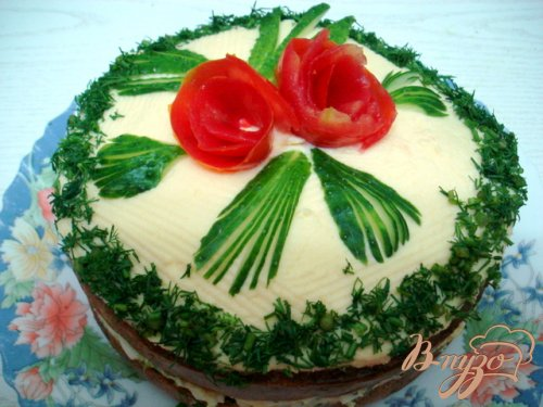 Закусочный торт грибной