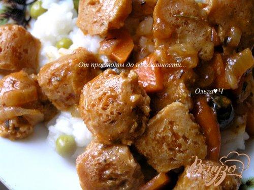 Соевое мясо с черри и орегано