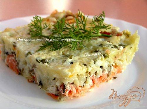 Кассероль с рисом, форелью и моцареллой